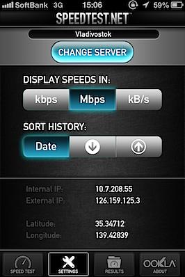iPhone回線速度